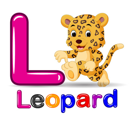 Cute leopard and alphabet