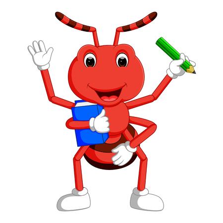 귀여운 개미 부과와 연필 들고