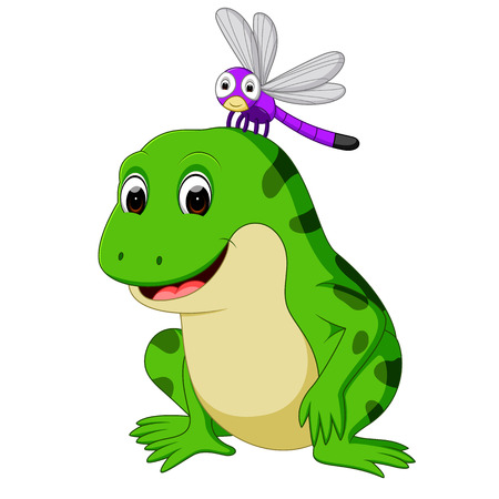 Cute frog and butterfly Stock Photo