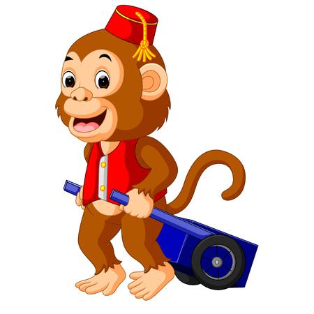Mono de circo que lleva el carro
