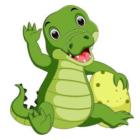 Carino cartone animato di coccodrillo Vettoriali
