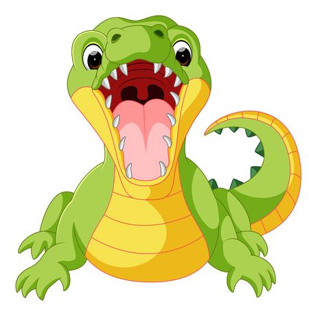 wave hello: Cute crocodile cartoon Illustration