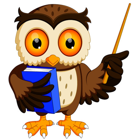 Owl in the graduate's carrying book  イラスト・ベクター素材