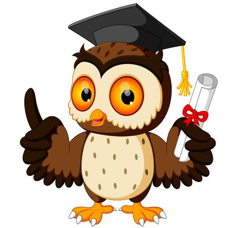 rolled up: Owl cartoon wearing graduation cap