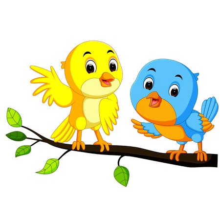 Dibujos animados pareja de aves en una rama. Ilustración del vector.
