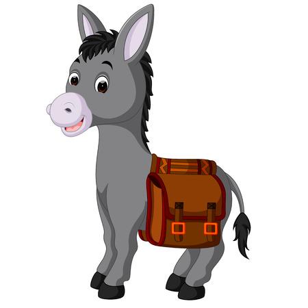 jackass: Donkey carries a bag. Vector illustration. Illustration