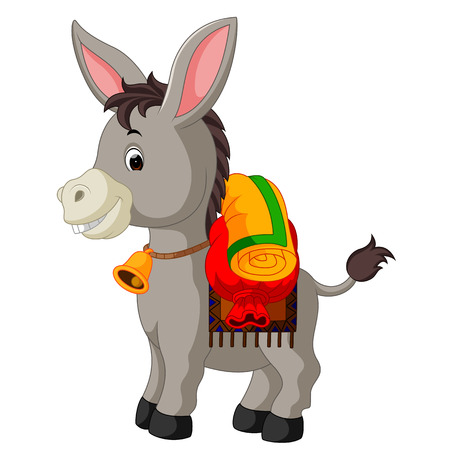 Donkey carries a large bag. Vector illustration.