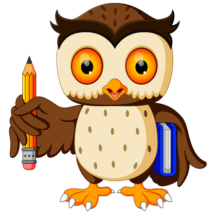 owl carrying book and pencil Banque d'images