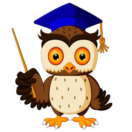 tassel: Cartoon of pointing wise owl