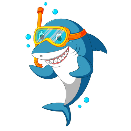shark with diving equipment