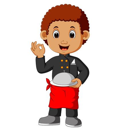 boy chef cartoon Illustration
