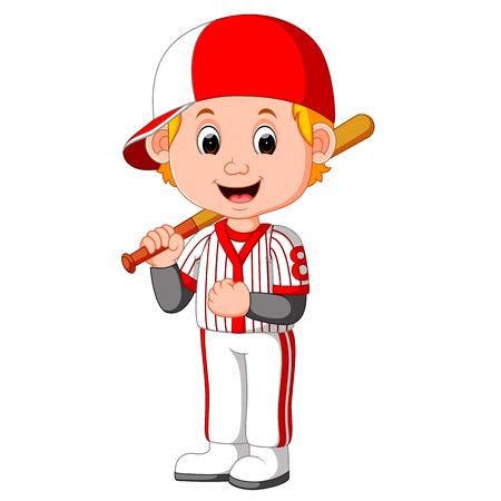 pitching: Cartoon boy playing baseball