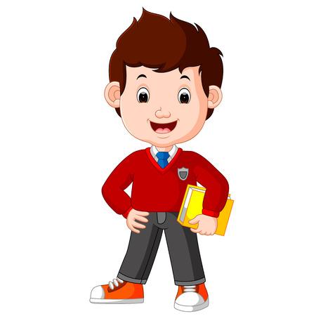kids boy carrying book cartoon Illustration