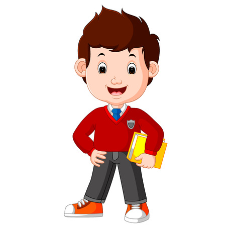 kids boy carrying book cartoon Illustration