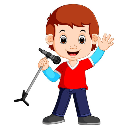 Cartoon singing happily while holding the mic Stock Photo