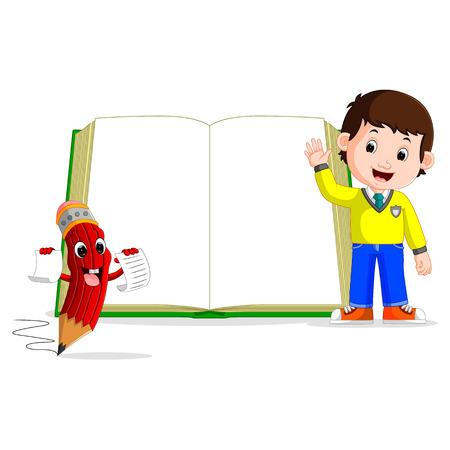 큰 책을 가진 아이들 일러스트