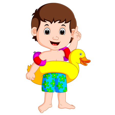 Boy using inflatable ring Illustration