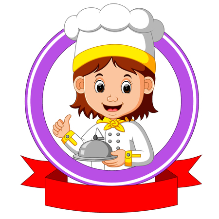 chef cook holding plate dish Illustration