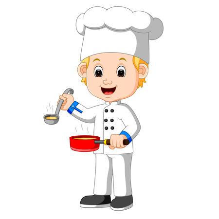 kiddies: Cartoon chef with a ladle Illustration