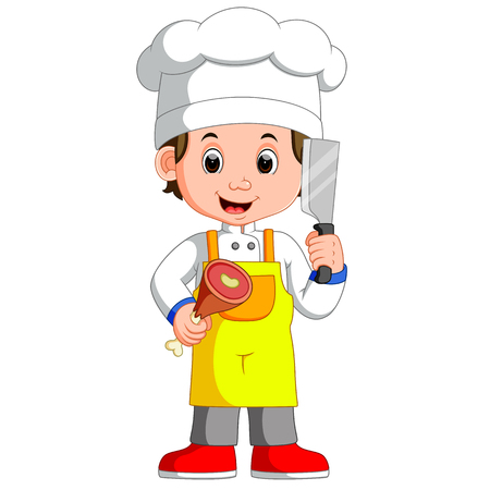 Chef Cook Holding Cleaver Knife And Meat Smiling Cartoon Illustration