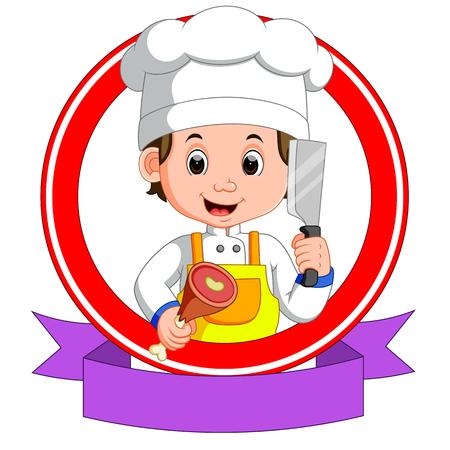 Caricature de mascotte de boucherie Banque d'images - 82808449