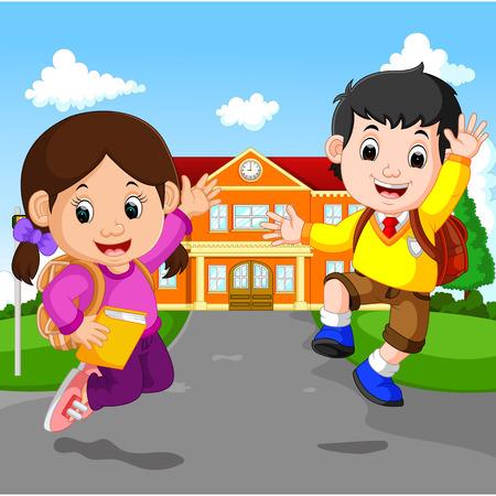 행복한 어린 아이들은 학교에 다닙니다. 일러스트