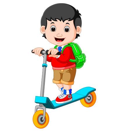 boy playing push bicycle Stock Photo