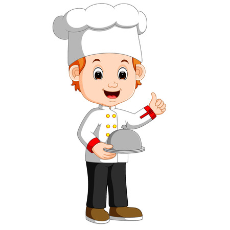 chef boy holding plate dish Stock Photo