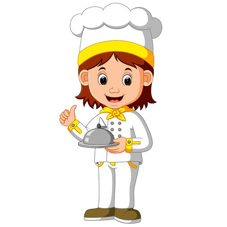 chef cook holding dish