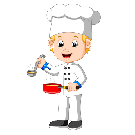 Cartoon chef with a ladle Stock Photo