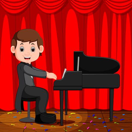 Cute boy cartoon playing piano
