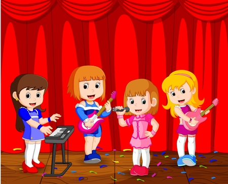 little kids playing music in a music band