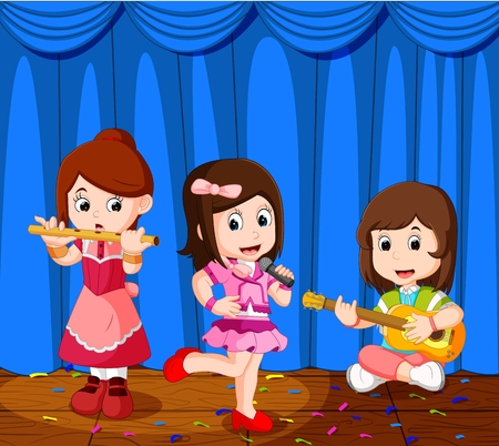 talented: little kids playing music in a music band