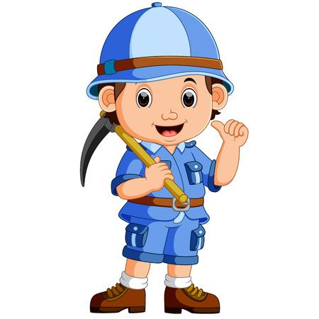 cute hiker boy holding axe Illustration