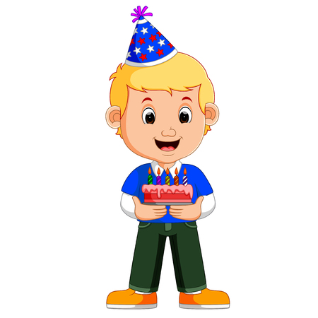 a smiling boy with cake Illustration