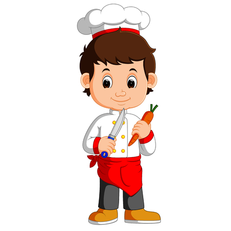 Chef Cook Holding Cleaver Knife And carrot Cartoon Stock Photo