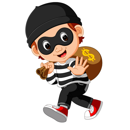 furtive: Thief cartoon carrying bag of money with a dollar sign