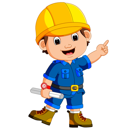 Cute architect wearing helmet and holding a blueprint  イラスト・ベクター素材