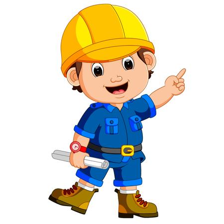 Cute architect wearing helmet and holding a blueprint Ilustração