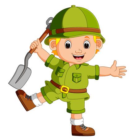 cute hiker holding shovel