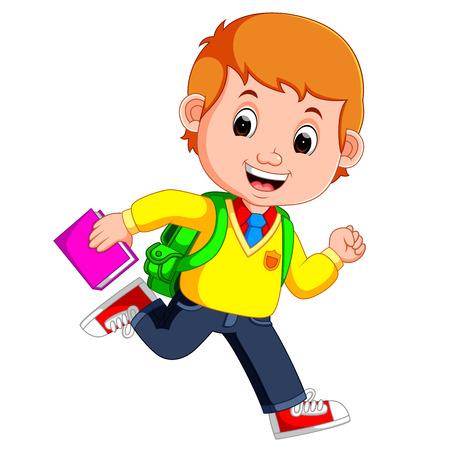 Cute boy ir a la escuela de dibujos animados