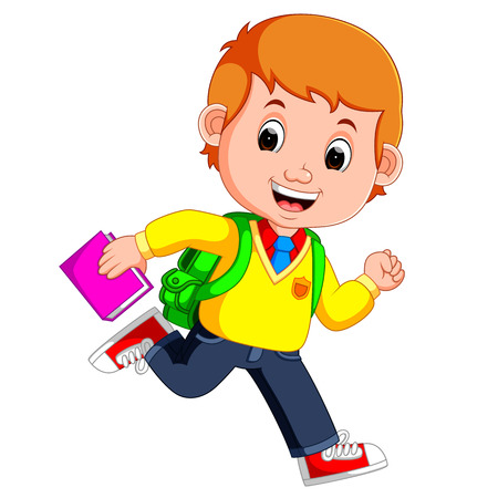 Cute boy go to school cartoon Illustration