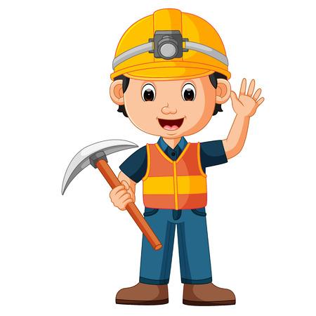 construction man holding axe Illustration