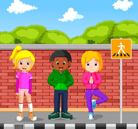kids walking on the pedestrian Illustration