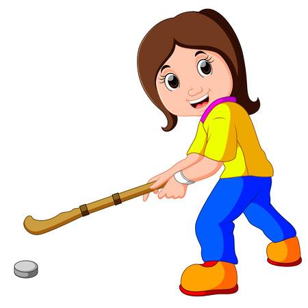 funny girl cartoon playing hockey
