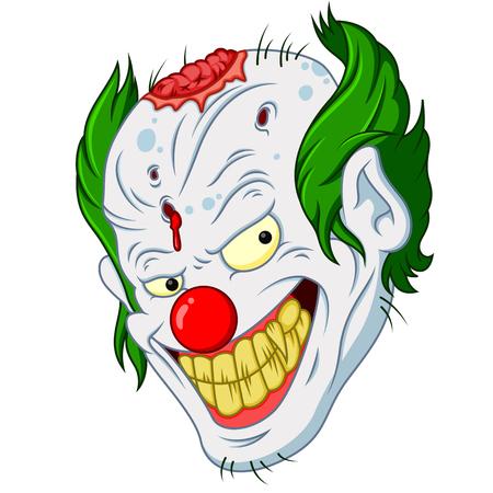 Halloween zombie clown face cartoon