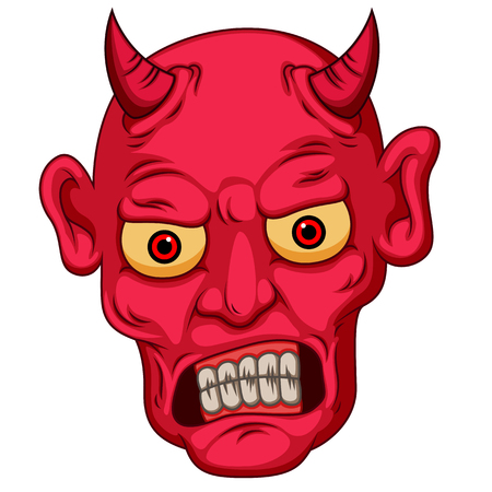 Red cartoon style devil face