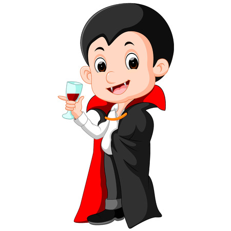 Cartoon Dracula with glass of blood.