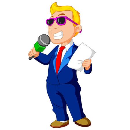 Host de dibujos animados sosteniendo un micrófono Foto de archivo - 86257516