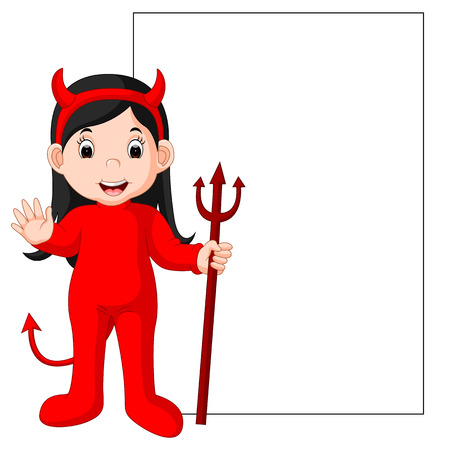Cute devil cartoon with blank sign